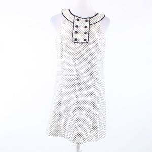 Tibi ivory black polka dot cotton sheath dress 6